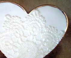 Ceramic  Lace  Heart Trinket Dish by dgordon on Etsy, $16.00