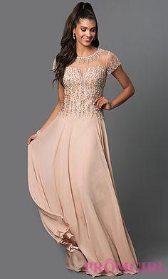 Short Sleeve Illusion Bodice Floor Length Dress by Elizabeth K at PromGirl.com