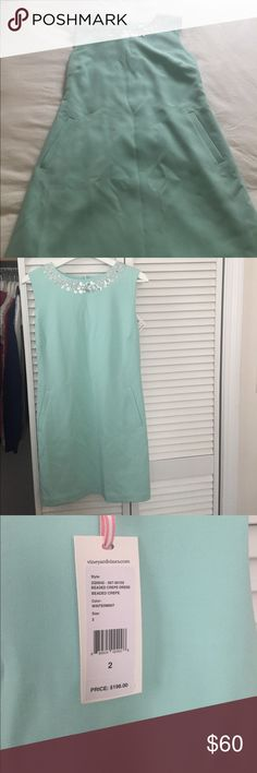 Vineyard Vines Beaded Crepe Dress Beautiful mint green crepe dress from VV. Slightly wrinkled from storage, but never worn! Please Note: the tag says size 2 but this dress fits a size 0 and May be a tad snug on a true two. It fit me perfectly and I am 5'3 and 125 pounds. Measurements: shoulder to hem: 33.5 inches. Armpits: 15 inches. Bust: 16 inches Waist: 15 inches Hips: 17 inches. Please ask any questions!!! Vineyard Vines Dresses Mini