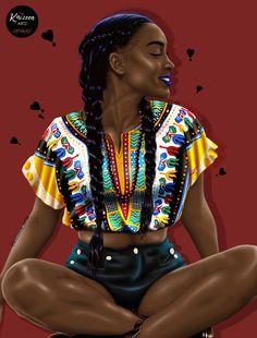 ❣Self Esteem❣ Rising Soul #kaizeea_artz #mauritianartist #artillustration #digitalart #digitalpainting #instaart #dashiki #croptop #jeans #denim #waxprint #braids #hairstyles #meditation #selfesteem #love #awakening #lipstick #blackgirlmagic #flexinginmycomplexion