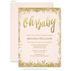 Blush pink and gold faux glitter girl baby shower invitations.
