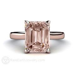 Morganite Ring Solitaire Morganite Engagement Ring Emerald Solitaire 14K or 18K�