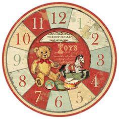 Decoupage Vintage, Vintage Crafts, Vintage Paper, Clock Face Printable, Printable Art, Vintage Teddy Bears, Cute Teddy Bears, Vintage Labels, Vintage Posters
