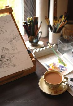 Art Studio Table (with a lovely cup of tea) Studio Table, Dream Studio, Art Studios, Storyboard, Art Supplies, My Arts, Coffee Break, Coffee Time, Morning Coffee