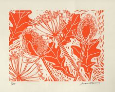 Limited Edition Lino Print - Oakleaves, Teasels & Hogweed