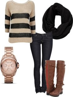 infinity scarf + striped sweater