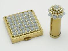 Rare Vintage CINER Blue Moonstone Pearl Compact Lipstick Original Case