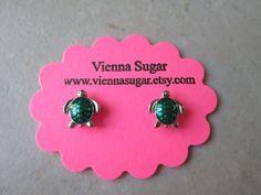 Green Enameled Sea Turtle No Pierce Magnetic by ViennaSugar