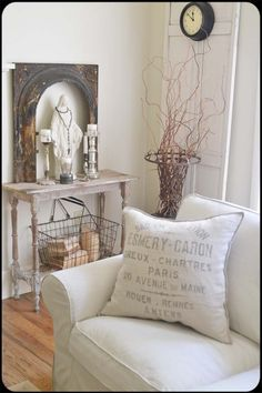 white, rustic, Mary statue/rosary, old door, white slipcovers via Cottage of the Month and Fadec Charm
