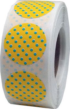 Yellow Stickers with Teal Polka Dots  0.75 Inch by TheDotSpotLane