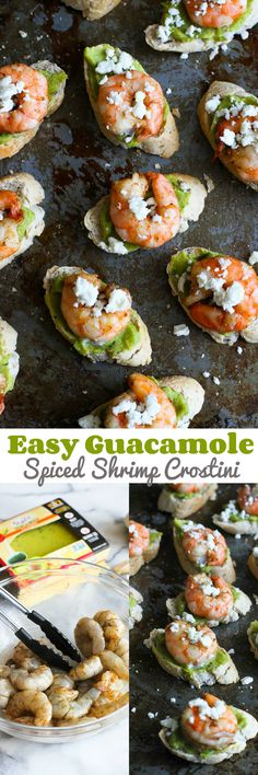 Easy Guacamole Spiced Shrimp Crostini recipe…These will disappear in minutes at your Super Bowl party! 44 calories and 1 Weight Watcher SmartPoints