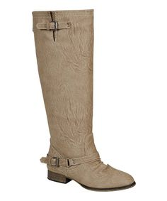 Another great find on #zulily! Breckelle's Beige Buckle Outlaw Boot by Breckelle's #zulilyfinds