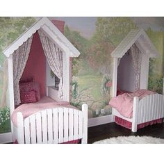 Image Detail for - Cottage Wall Murals Bedroom Design Ideas - Best Wall Murals Gallery . Wall Murals Bedroom, Murals For Kids, Storybook Cottage, Kids Room Design, Nursery Design, Home And Deco, Little Girl Rooms, Kid Spaces, Girls Bedroom