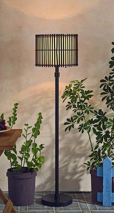 Kenroy Home Bora Outdoor Floor Lamp, Bronze Finish Antique Floor Lamps, Bronze Floor Lamp, Outdoor Floor Lamps, Outdoor Flooring, Bamboo Shades, Types Of Lighting, Bronze Finish, Glass Shades, Light Fixtures