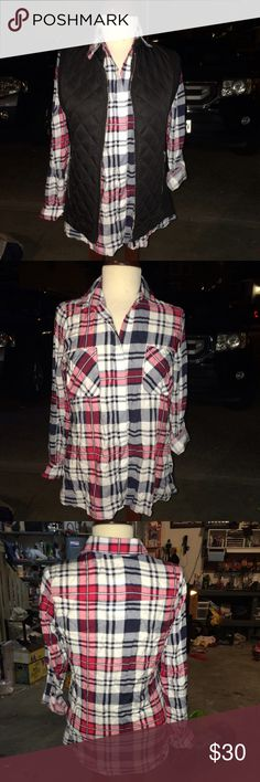 "💖NWT FUN & FABULOUS PLAID BUTTON UP💖 This sweet & sassy little number has gorgeous pops of navy/pink/white&red colors to brighten up your fall wardrobe. 100% rayon for a soft flowy feel. 2 front functional pockets, button cuffed wrists ➕extender & button up the arm to keep rolled up sleeves in place. BUST:18"". FRONT SHOULDER TO HEM:25"". BACK SHOULDER TO HEM:28"" ACROSS BACK SHOULDERS: 14"".🌟VEST also for sale. SPECIAL DISCOUNT when bought together. Comment to set it up🌟 🆓🎁W/purchase…"