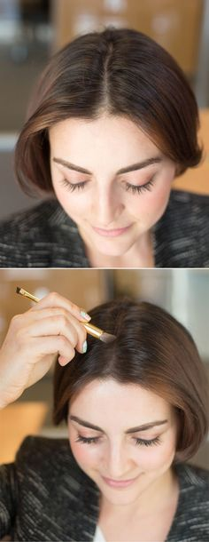 Hair Hacks - Tricks for Styling Your Hair. Make your hair appear thicker where you split your hair by dusting eyeshadow (in the color family of your hair) along your hairline. Beauty Make-up, Beauty Makeup Tips, Beauty Hacks, Hair Beauty, Fashion Beauty, Beauty Secrets, Perfect Ponytail, Perfect Bun, Good Hair Day