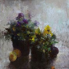 Pansies by artist Diane lyon. #painting found on the FASO Daily Art Show - http://dailyartshow.faso.com