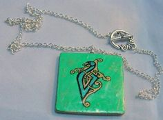 Green and Gold Celtic Knot Dragon Pendant Necklace   Wyverndesigns - Jewelry on ArtFire