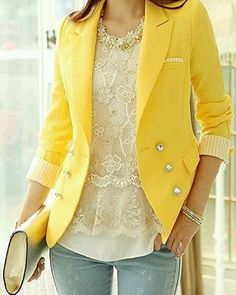Amazing yellow blazer in combination with lace top and blue jeans create so feminine and gentle look for spring Love this outfit.Just need the yellow blazer. Trend Fashion, Look Fashion, Womens Fashion, Fashion 2015, Fall Fashion, Fashion News, Mode Chic, Mode Style, Look 2015