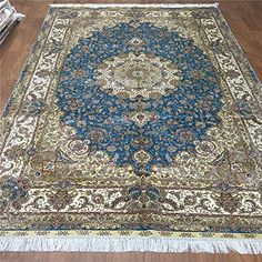 Camel Carpet Blue And Beige Hand Knotted Silk Persian Home Rugs 2mx3m Http