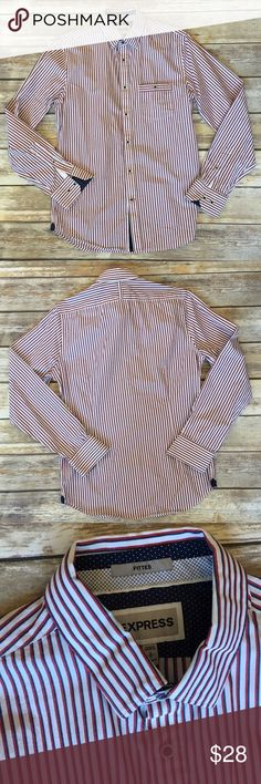 ❗3 for $20❗Men's Express Button Down Shirt Men's Express Button Down Striped Shirt. Slim Fit size small Express Shirts Casual Button Down Shirts