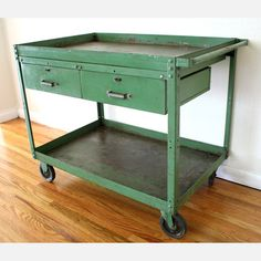 Industrial Cart in Green  from @JenNool Picked Vintage, now featured on @Fab. ~ Great vintage form, function, color rolled into one!