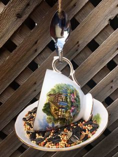 Items similar to Royal Vale Country Cottage Teacup Bird Feeder with Spoon, tea cup bird feeder, teacup bird feeder, bird feeder, royal vale china decor on Etsy Thank You Gifts, Gifts For Mom, Garden Bird Feeders, Nutritious Snacks, How To Attract Birds, Perfect Gift For Her, Silver Spoons, Garden Ornaments, Upcycled Vintage