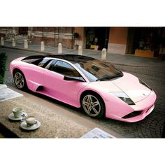 Pink Lamborghini Murcielago LP640 ❤ liked on Polyvore featuring cars, transport, rides and pictures