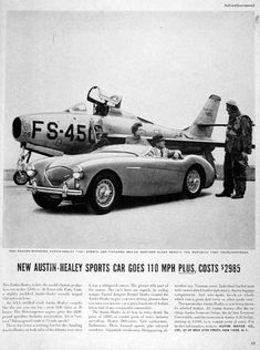 1954 Austin Healey 100 Roadster Convertible original vintage advertisement. The world's fastest production car under 3000cc with top speed of plus 110 mph. Only $2,985 at coastal port of entry.
