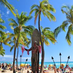 Waikiki. - Duke Kahanamoku statue, there is a live web cam across the street pointing to this statue. Every time we go, we have to go by there and call our friends back East to check us out, lol.