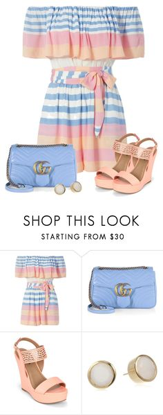 """#842 - Pastels & Rompers for Spring"" by lilmissmegan ❤ liked on Polyvore featuring Mara Hoffman, Gucci, Call it SPRING, Dean Davidson and outfitonly"