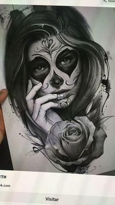 Sugar Skull Girl Tattoo, Girl Face Tattoo, Girl Arm Tattoos, Body Art Tattoos, Tattoo Drawings, Hand Tattoos, Day Of The Dead Tattoo Designs, Day Of Dead Tattoo, Best Sleeve Tattoos