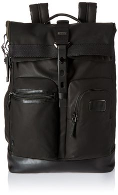 Tumi Alpha Bravo Luke Roll-Top Backpack, Black. Laptop compartment. Add-a-bag sleeve. 14x19x6.
