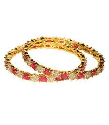 Buy Stunning Pink Stone and studded Bangles bangles-and-bracelet online