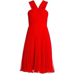 MARIELLE V-NECK PLEATED DRESS ($368) ❤ liked on Polyvore featuring dresses, vestidos, short dresses, red dresses, red, red sleeveless dress, a line dress, red a line dress, short red dress and a line mini dress