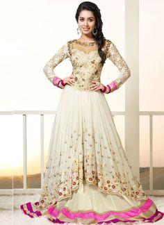Cream Designer Long Salwar Suits @ http://www.wholesalesalwar.com/salwar-kameez?view=catalog&page=4  #Salwarsuits #Partywearsalwarsuits #Designersalwarsuits #Indiansalwarsuits