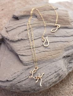 Double Initial Necklace. 14K Gold Filled. Letter. Personalized. Bridesmaid. Wire Jewelry.