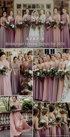 Purple Mix and Match Bridesmaid Dresses - Dusty pinks and purples are perfect for a mix & match bridal party. Pictured in dusty rose, dusk a - Dusty Purple Bridesmaid Dresses, Mix Match Bridesmaids, Azazie Bridesmaid Dresses, Pink Purple Wedding, Dusty Rose Wedding, Wedding Colors, Theme Color, Fall Wedding, Dream Wedding