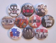 All Time Low Pinback Button Badge Pin    Each button is one inch across. See the last picture for size. Choose from pin back, plastic flat back or