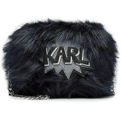 Karl Lagerfeld Faux Fur Shoulder Bag (€210) ❤ liked on Polyvore featuring bags, handbags, shoulder bags, blue, glitter handbag, faux fur handbags, karl lagerfeld handbags, cartoon purse and blue handbags