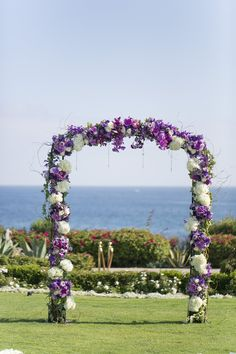 Florals by Jenny is an Orange County florist located in Laguna Beach, California. Wedding and Event Florist serving Orange County, San Diego County, Los Angeles White Wedding Arch, Beach Wedding Reception, Beach Wedding Flowers, Wedding Ceremony Flowers, Wedding Reception Decorations, Purple Wedding, Floral Wedding, Wedding Bouquets, Wedding Arches