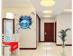 Barato Engraçado vivid sorriso peixe tubarão 3d ocean view janela da parede do furo adesivo para o quarto dos meninos decor mural art para sala de estar livre grátis, Compro Qualidade Adesivos de parede diretamente de fornecedores da China: Engraçado vivid sorriso peixe tubarão 3d ocean view janela da parede do furo adesivo para o quarto dos meninos decor mural art para sala de estar livre grátis