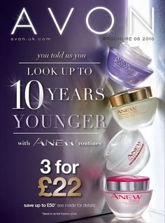 Welcome to my online Avon Store! Place orders through me for free delivery to your door, or for a small fee you can get direct delivery to your door. All Anew face creams are 3 for £22!! Saving you up to £50! Wow, if you normally use these creams this is the best time to buy and lay them past until you need them! Massive savings on all foundations too, and a lot of our best selling make-up has money off offers. There is also NEW Bonus Size bottles of Skin-So-Soft Dry Oil Spray on page 74…