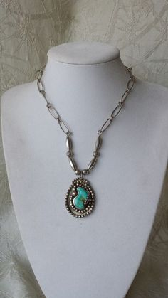 Vintage Navajo Native American Sterling Silver Turquoise Necklace ca: 1960's