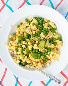 raw corn, pea, and avocado salad