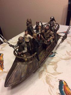 Repainted Tatooine Skiff and figures. Maquette Star Wars, Figuras Star Wars, Jabba's Palace, Star Wars Figurines, Starwars Toys, Star Wars Models, Star Wars Action Figures, Astronaut, Krishna