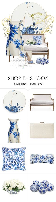 """""""Blue Floral & White Porcelain"""" by alyssumfield ❤ liked on Polyvore featuring Prouna, Lela Rose, Sasha, Roberta Roller Rabbit and NDI"""