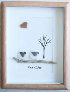 Pebble Art framed Picture Sheep Ewe & Me