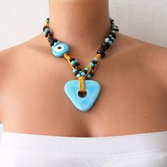 Blue and Brown Necklace with Evil Eye Bead