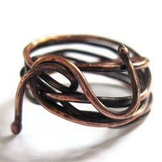 Copper Wire Ring Snake Ring Men Women Unisex by gimmethatthing, £14.00